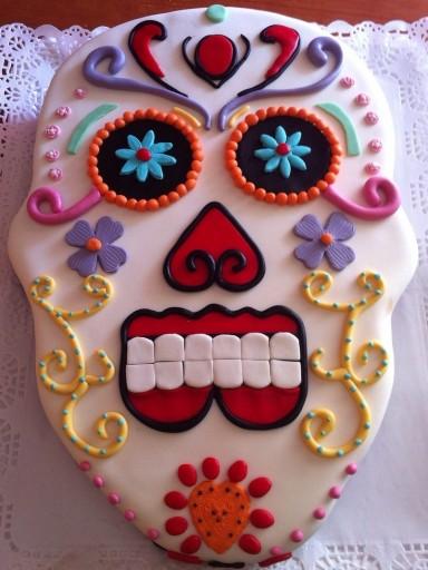Tarta Fondant Calavera Mexicana